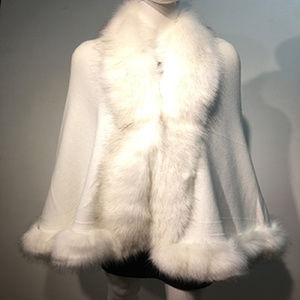 New Luxurious Faux Fur Trimmed Cape Shawl